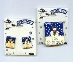 1990s Snowden Target Snowman Enamel Silver Tone Pin & Earrings Set in Orig Card