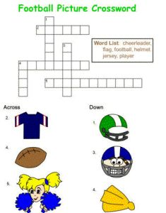 Kids Will Love Filling In This Football Picture Crossword Puzzle