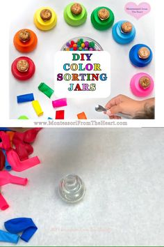 Using recycled jars and balloons to make color sorting jars to reinforce color recognition and advance fine motor control. Preschool Color Activities, Infant Activities, Sorting Activities, Learning Colors, Fun Learning, Recycled Jars, Thanksgiving Crafts For Kids, Games For Toddlers, Toddler Play