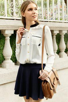 Contrast Neck Chiffon Shirt - OASAP.com
