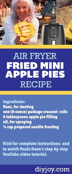 Fried Apple Pies, Fried Pies, Paula Deen Apple Pie, Recipes Using Crescent Rolls, Peach Pie Filling, Air Frier Recipes, Honey Buns, Air Fryer Recipes Easy, Mini Apple