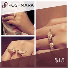 Wings Ring Wings Ring  Alloy, Gold Plated, Full of Crystal. size: 7  ❤️alba #fashion Jewelry Rings