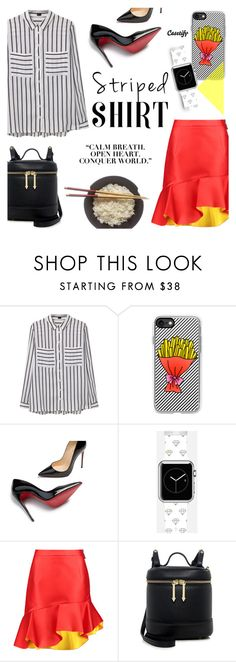 """Striped Shirt ~ Casetify #6"" by alexandrazeres ❤ liked on Polyvore featuring MANGO, Casetify, Christian Louboutin, Preen, Karen Walker, casual, stripes, phonecase and watch"
