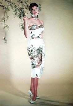 dress and headscarf with a foliage motif (1950s)