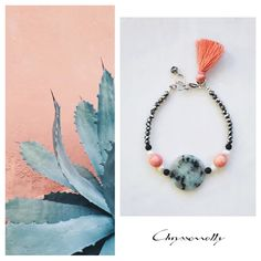 JEWELRY | Chryssomally || Art & Fashion Designer - Boho chic tassel silver bracelet with mint green - turquoise, black, white, salmon pink gemstones and silver crystals