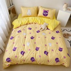 Happy Luna Bedding Set Notice:The bedding set only have quilt cover,bed sheet and pillow case ●Size:tips the size of the quilt to choose the bedding set. Bedroom Sets, Bedroom Decor, Bedrooms, Purple Duvet, Kawaii Bedroom, Cute Blankets, One Bed, Duvet Bedding Sets, Aesthetic Bedroom