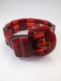 Vintage Red Bakelite Buckle Bracelet