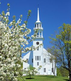Strafford Meeting House by john knox on Capture My Vermont // Strafford Meeting House - Strafford, Vermont Strafford Meeting House is one of the most beautiful in all New England. Flowering shrubs and mint green leaves augment it's beauty in the spring. Old Churches, Flowering Shrubs, Stained Glass Windows, All Over The World, Vermont, 6 Years, New England, Most Beautiful, Places To Visit