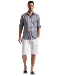 Cottage Chaps: Time to update his warm-weather weekend wardrobe? For casual summer living on back decks or cottage docks, check out this chic look: an oversized gingham-inspired print shirt tops off a pair of Bermuda-length cargo shorts.  Tip Top Tailors.