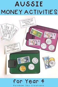 Australian Money Activity Pack:Hands on Australian money activities - Year 3 & 4 Money Activities, Math Activities For Kids, Math For Kids, Math Resources, Matter Activities, Teaching Money, Teaching Time, Teaching Ideas, Teaching Numbers