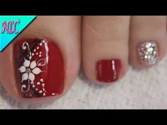 Flower Pedicure Designs, Toe Nail Designs, Acrylic Nail Designs, Acrylic Nails, Hair And Nail Salon, Hair And Nails, Toe Nail Color, Nail Colors, Airbrush Nails