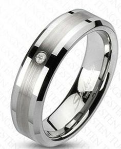 Ohio style Tungsten Carbide Beveled Ring with CZ Stone $49