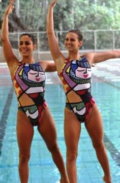 Swimsuit created by Romero Britto for synchronized swimming Brazil