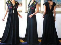 mexican wedding dress | MissEthnic.com - Vtg BLACK MEXICAN EMBROIDERED DEEP V MAXI DRESS M1