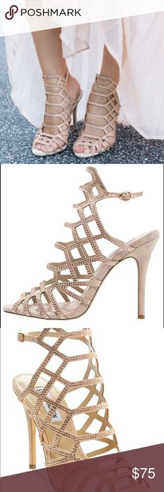 """Steve Madden 'Slithur' caged heel Tiny rhinestone studs illuminate a breathtaking caged sandal with a slim 4.5"""" stiletto heel. There is an adjustable buckle closure around ankle. Champagne colored sandals that pair with almost any outfit! The style is very popular right now! These are brand new with original box, never worn! Fit true to size. Let me know if you have any questions! :) I am open to offers Steve Madden Shoes Heels"""