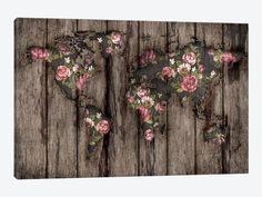 Wood Flowers Mapamundi by Diego Tirigall 1-piece Canvas Artwork