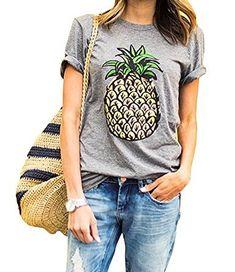 28eb9ccf433 Haola Women s Summer Street Printed Tops Funny Juniors T Shirt Short Sleeve  Tees Grey2 M