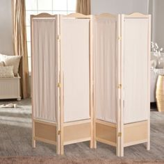 Folding Screen Canvas 4 Wood Room Divider Dressing Partition Portable Privacy in Home & Garden, Furniture, Screens & Room Dividers | eBay
