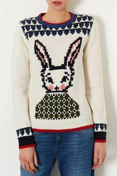bunny pattern sweater