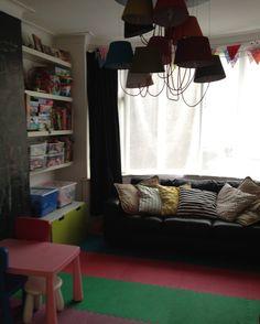 playroom - Kare chandelier, chalkboard wall and colourful foam flooring