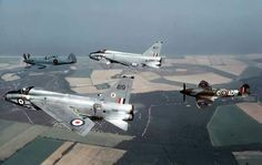 English Electric Lightnings with a pair of Spitfires.