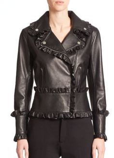 $3,375, Black Leather Biker Jacket: Christopher Kane Leather Frill Moto Jacket. Sold by Saks Fifth Avenue. Click for more info: https://lookastic.com/women/shop_items/281185/redirect
