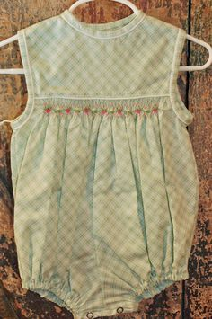 b03bcda4460 Green and white window check romper with