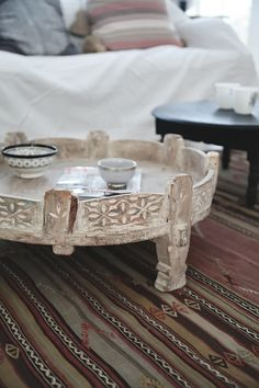 beautiful light wood washed coffee table..ethnic ..Helt Enkelt - chakki table