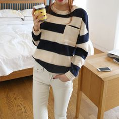 Price:$30.99 Color: Blue Material: Wool Navy Style Stripe Print Mixing Color Knit Sweater