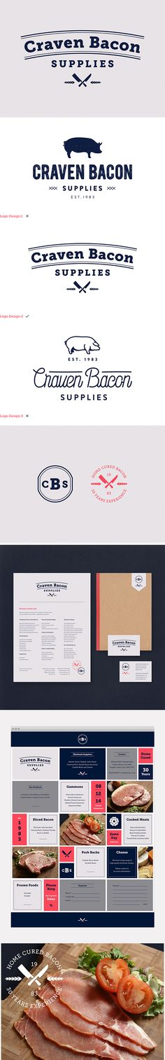 identity / Craven Bacon meat supplies Identity Design, Visual Identity, Brand Identity, Web Design, Tool Design, Vintage Typography, Typography Design, Packaging Design Inspiration, Graphic Design Inspiration