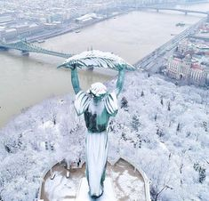 Statue of Liberty under the snow in Budapest, Hungary Visit Budapest, Budapest Travel, Most Beautiful Cities, Beautiful World, Capital Of Hungary, Buda Castle, Hungary Travel, Heart Of Europe, Ancient Architecture