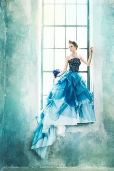 EPNV21 #NOVARESE #ノバレーゼ#colordress #tulle #blue #black #gradation