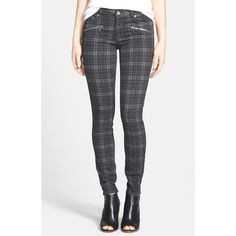 Women's Paige Denim 'Indio' Zip Detail Ultra Skinny Jeans (£100) ❤ liked on Polyvore featuring jeans, paige denim skinny jeans, plaid jeans, skinny leg jeans, paige denim and cut skinny jeans