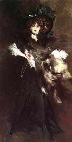 Giovanni Boldini - Portrait of M.lle Lantelme, 1907. Oil on canvas, 227 x 118 cm. Galleria Nazionale d'Arte Moderna e Contemporanea, Rome, Italy