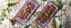 Qooking.ch | Duo de carpaccio pimentés Ceviche, Bohemian Rug, Surf And Turf, Pisces