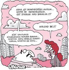 - Sana git demeyeceğim Lavinya... Gitme de demeyeceğim. Göt diyorum hadi bakalım!!!! + Noluyo be!!! - Şiiri unutunca sinirlendim kusura bakma... Niyetim kötü değildi diyemiyorum, niyetim de kötü... #karikatür #mizah #matrak #komik #espri #şaka #gırgır #komiksözler #özdemirasaf #lavinia #şiir