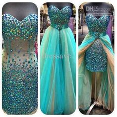 Blue high low prom dress