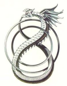 Ouroboros, emblematic serpent of ancient Egypt and Greece represented with its tail in its mouth continually devouring itself and being reborn from itself. A Gnostic and alchemical symbol, Ouroboros expresses the unity of all things, material and spiritual, which never disappear but perpetually change form in an eternal cycle of destruction and re-creation.