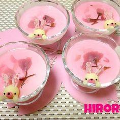 Rabbit sakura yoghurt milk purine Japanese Food Art, Japanese Sweets, Sakura Cherry Blossom, Cherry Blossoms, Japanese Wagashi, Cute Food, Funny Food, Kawaii Dessert, Cute Bento