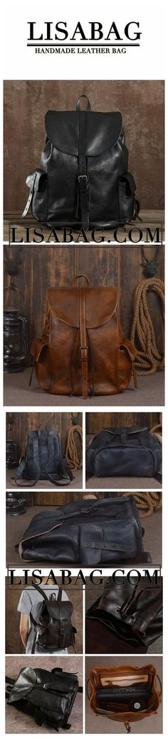 0b2e7b9c50 Handmade Genuine Leather Backpack Travel Backpack School Backpack in Black  9017 Hiking Backpack