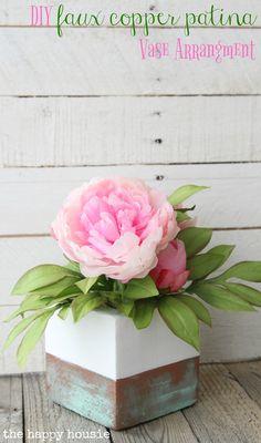DIY Faux Copper Patina Vase Arrangement - The Happy Housie