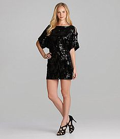 Cachet sequin top long 2fer dress