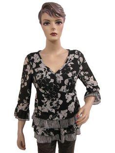 Womens Chiffon Top Black White V- Neckline Printed Blouse Small Size Mogul Interior. $19.99