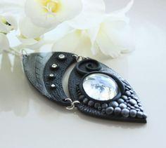 Dark & tranquil - Polymer clay black necklace white swarovski crystals -dark knight fantasy collection