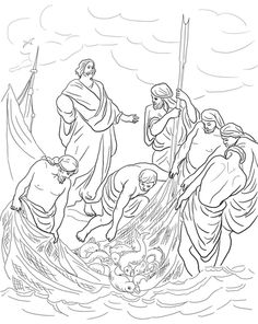 Jesus and the Miraculous Catch of Fish  Coloring page