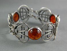 Antique Modernist Mid Century Orno Studio Poland Amber Silver Bracelet Art Deco #MidCenturyModern #Orno