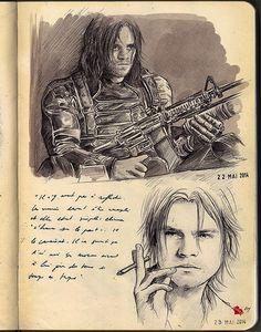More Bucky sketches Sebastian Stan, Comic Books Art, Comic Art, Loki, Bucky Barnes Captain America, The Dark Side, Baby Avengers, Moleskine Sketchbook, Winter Soldier Bucky