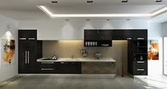 Cool black and wood kitchen