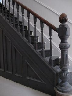 The Best 24 Painted Stairs Ideas for Your New Home Hallway – coat of Great white Farrow and ball floor paint + All white Farrow and ball walls and …Hallway – coat of Great white Farrow and ball floor paint + All white Farrow and ball walls and … Black Staircase, Staircase Landing, Staircase Design, Black Banister, Staircase Ideas, Victorian Hallway, Victorian Terrace, Victorian Homes, Grey Woodwork