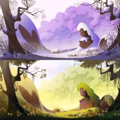Background paintings done for our short film at Gobelins.